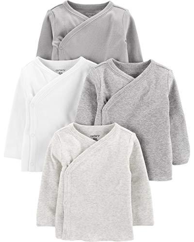 Carter's Baby Boys 4-Pack Cotton Kimono Tees (6 Months, Heather/Ivory)