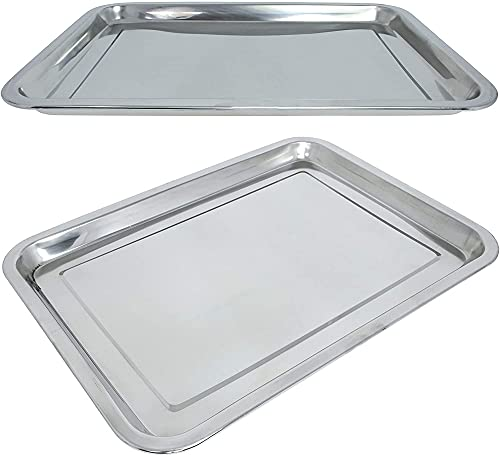 DDH 3-Piece Stainless Steel Tray Rectangular 31.5x21.5cm or 39.5x29.5cm to Choose from (31.5x21.5cm)-40 * 30 * 5