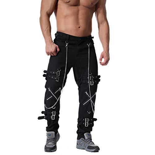 Pantalón Largo De Algodón con Cremallera para Hombre Pantalones Largos Mezclilla Hombres Jeans EláSticos Desgastados Destruidos Slim Fit Tachuelas (Ropa)