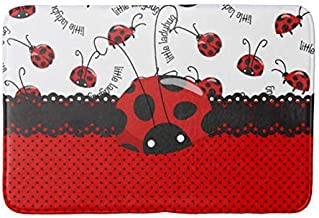 Pale Green Red,Anti-Skid Area Rug U Shaped Nonslip Home Washroom Decor Shower Accessories Ladybugs,Flower Frame with Tiny Little Ladybugs and Swirl Branches Springtime Theme