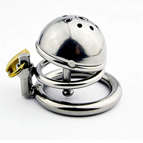 CxDTJH Smooth Stainless Steel Chastity Cage Prevents Affair Lady Treasure Men's Stainless Steel Ch+a+sti+ty lo+ck Chastity Belt Silicone Catheter P-e-n-i+s Lock Sunglasses T-Shirt (Size : S)