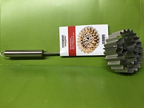Waffelbäckerei Rosenküchle Edelstahl satiniert 46cm lang 12,5cm breit mit Rezept