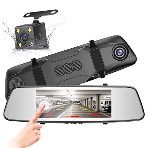 Pruveeo D700 7-Inch Touch Screen Backup Camera Dash Cam Front and Rear Dual Channel with Rear View...