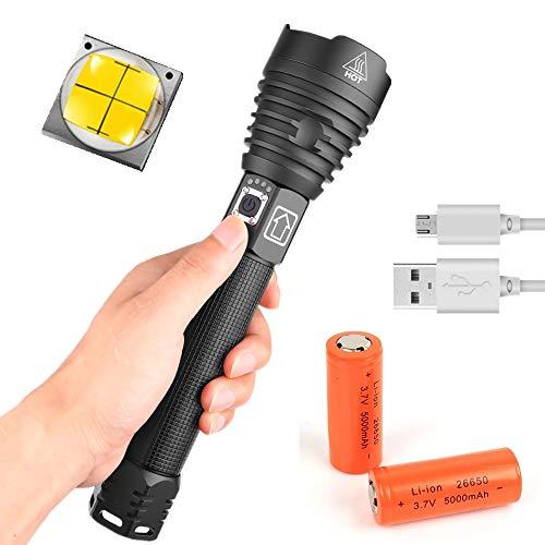 Linterna Táctica LED Superbrillante, 8000 Lúmenes, Linterna con Zoom, Impermeable, Recargable, 3 Modos para Camping, Exterior, Senderismo