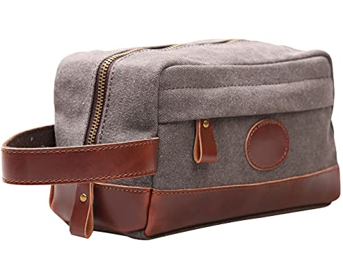 MSG Vintage Leather Canvas Travel Toiletry Bag Shaving Dopp Kit #A001 (Grey)