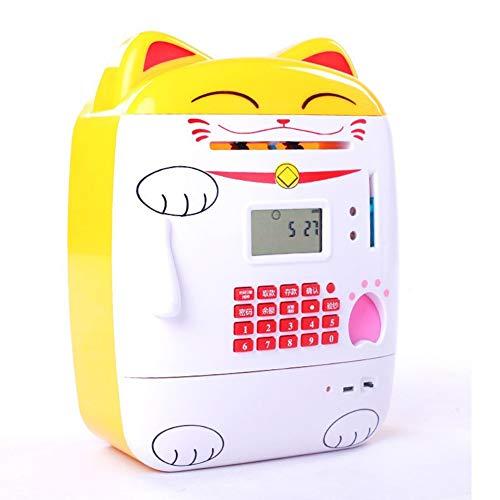 LSGNB Contraseña De Huella Digital Hucha Niño Creativo Ahorro Billetes Billetes Monedas Uso Dual Regalo De Cumpleaños Suministros De Vacaciones (Color : Yellow Cat)