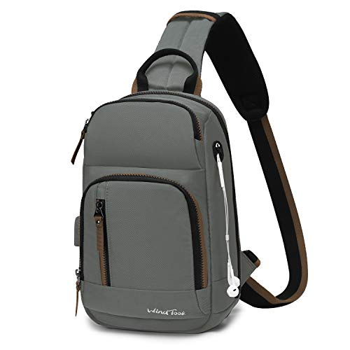 Wind Took Sling Bag Chest Shoulder Backpack Crossbody Bag Lightweight Outdoor Sport Travel Daypacks with USB Charging Port for Women Man