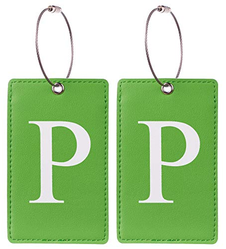 2 Pack Initial Luggage Tag Green by Gostwo Fully Bendable Tags Stainless Steel Loop (P)