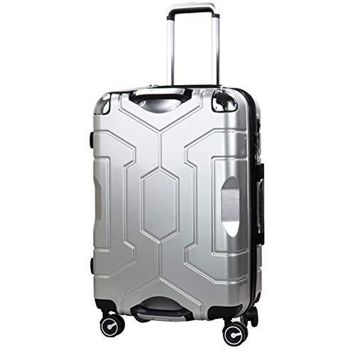 Adlereyire Trolley Suitcase Lightweight Durable Carry On Cabin Hand Luggage Set, Travel Bag with 4 Wheels (Color : Silver, Size : 37 * 24 * 59cm)