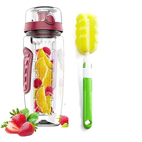 Topschoen Fruit Infuser Water Bottle 32oz Durable, BPA Free Tritan, Flip Lid, Leak Proof, Drinking Bottle with Sponge Cleaning Brush for Indoor & Outdoor Sports, Dark Red
