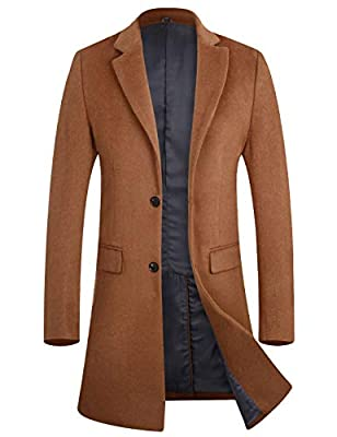 Men's Business Wool Top Coat Quality Winter Trench Coat Long Jacket 1702 Camel L by