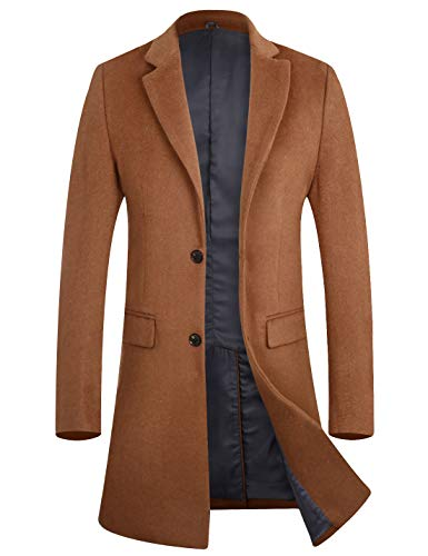 Men's Business Wool Top Coat Quality Winter Trench Coat Long Jacket 1702 Camel L