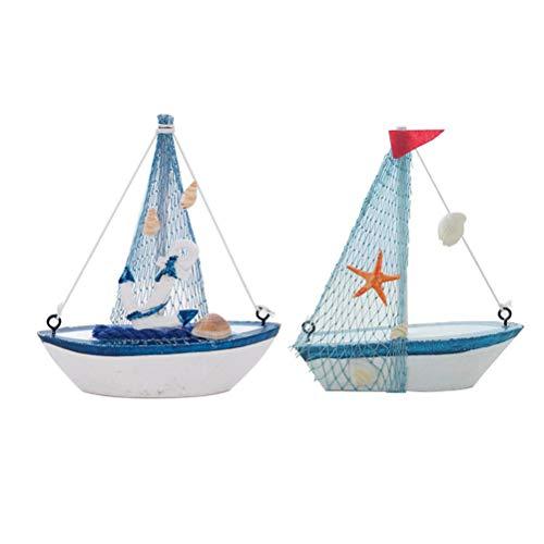 Amosfun 2 stks Houten Vissersboot Ornament Beach Boot Ornament Home Tafel Decoratie voor Partij B en F