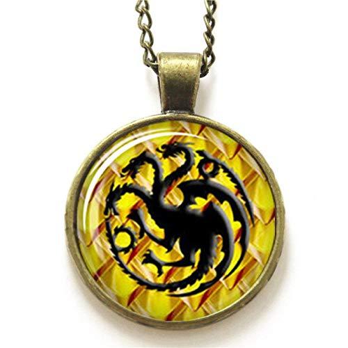Game of Thrones Drachenschmuck Khaleesi Symbol Haus Targaryen Glas Foto Halskette Schlüsselanhänger Lesezeichen Manschettenknöpfe