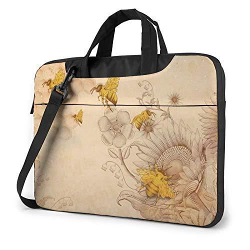 Laptop Shoulder Bag Rural Honey Bees Flowers Carrying Handbag Briefcase Sleeve Case 15.6 Inch