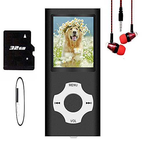 Hotechs MP3-Player/MP4-Player, MP3-Player mit 32 GB Speicherkarte, schlankes Design, digitales LCD-Bildschirm, 4,6 cm (1,8 Zoll) Bildschirm, FM-Radio (Schwarz)