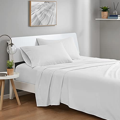 Degrees of Comfort Coolmax Cooling Sheets Set for Full Size Bed, Moisture Wicking for Night Sweats Best Comfort, Cool Sheets for Hot Sleepers During Warm Weather with Deep Pocket, White-4PC