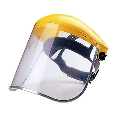Happyyami 2Pz Motosega Casco in PVC Taglio Erba Sicurezza Visiera Schermo Protettivo Antispruzzo per Lavori di Cucina in Ufficio Protezione Esterna Industriale (Giallo)