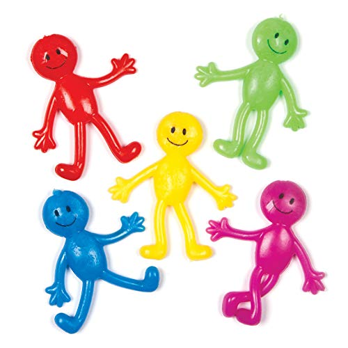 Baker Ross AG704 Happy Stretchy Men (Pack of 6) Perfect for Kids Party Bag Fillers or Gifting Ideas, Assorted