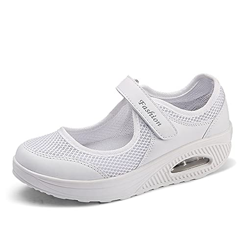 Hawtrytoa Women's Orthopedic Walking Nurse Shoe Wide Lightweight, Nurse Shoes for Women, Comfy Shoes for Women for Work, Zapatos para Trabajar de Mujer (38,White)