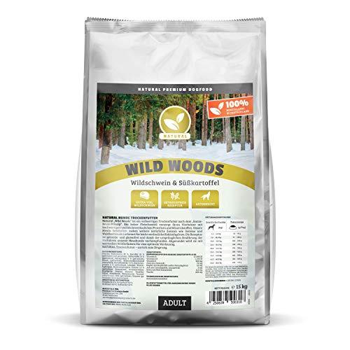 NATURAL | Wild Woods | 15 kg | Wildschwein + Kartoffel | getreidefreies Hundefutter | Trockenfutter für alle Hunderassen | viel frisches Fleisch | artgerecht & besonders gut verträglich
