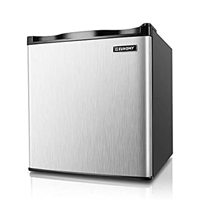 Euhomy Mini Freezer Countertop, 1.1 Cubic Feet Single Door Compact Upright Freezer with Reversible Stainless Steel Door(Silver)