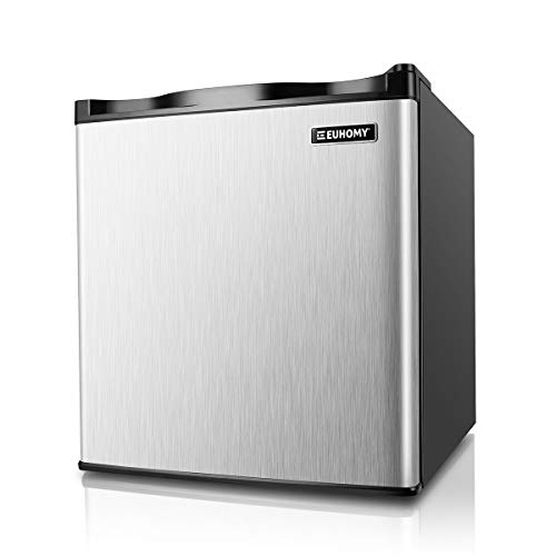 Euhomy Mini Freezer Countertop, 1.1 Cubic Feet, Single Door Compact Upright Freezer with Reversible Stainless Steel Door, Removable Shelves, Small freezer for Home/Dorms/Apartment/Office(Silver)