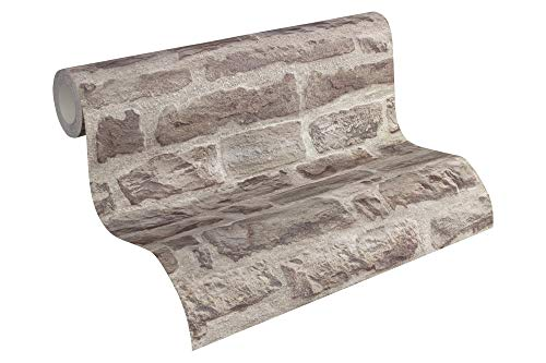 A.S. Création Vliestapete Best of Wood`n Stone 2nd Edition Tapete in Stein Optik fotorealistische Steintapete Naturstein 10,05 m x 0,53 m beige grau Made in Germany 319441 31944-1
