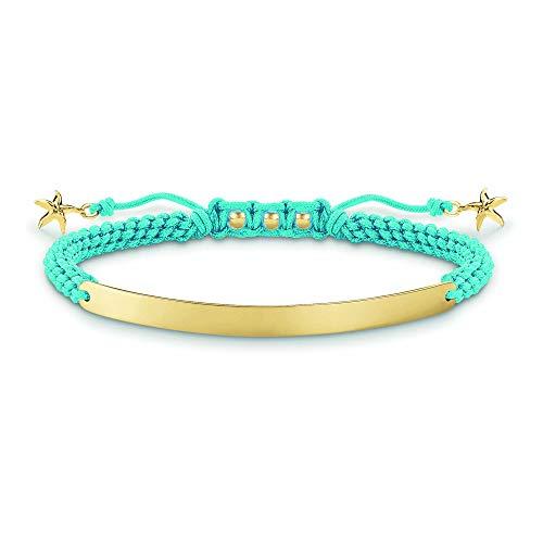 Thomas Sabo Damen-Armband Love Bridge Stern 925 Sterling Silber 750 gelbgold vergoldet Nylon blau Länge von 14.5 bis 21 cm Brücke 5 cm LBA0060-848-1-L21v