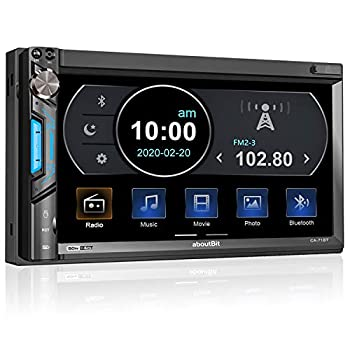 aboutBit Bluetooth Double Din Car Stereo-7 inch HD Touchscreen MP5 Player Car Audio Receiver–Supports Phonelink Rearview Camera AM/FM Radio USB/SD/AUX Subwoofer SWC Wireless Remote Control