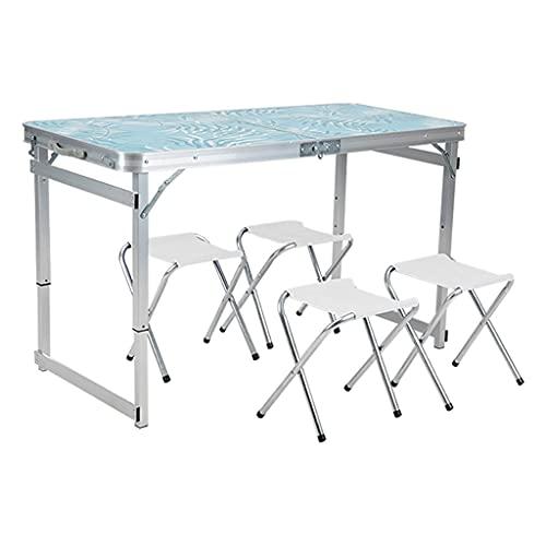 Mesa plegable plegable portátil de viaje plegable mesa de picnic con 4 sillas para picnic, fiesta, comedor, campamento sin ensamblaje (color: blanco)