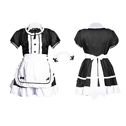 Vestido de criada, disfraz de mucama para cosplay de manga corta, uniforme de camarera, juego de vestido de criada con sombrero, collar falso para espectáculo de fiesta