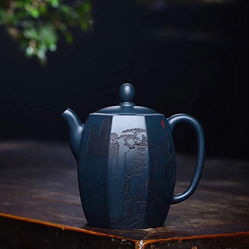 Teapot Tea Maker Pot Yixing Teapot Tea cup Four High Fangtian Qing Fan Yujun Mud Handmade Tea Classic Tea Set (Color : Azure mud)
