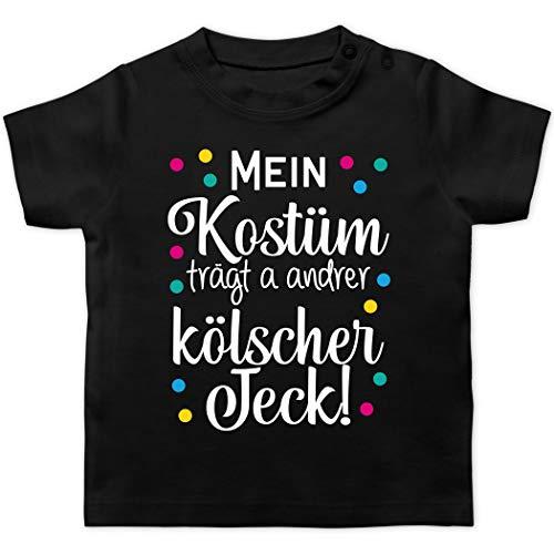 Karneval und Fasching Baby - Mein Kostüm trägt a Anderer kölscher Jeck! -weiß - 1/3 Monate - Schwarz - T-Shirt - BZ02 - Baby T-Shirt Kurzarm