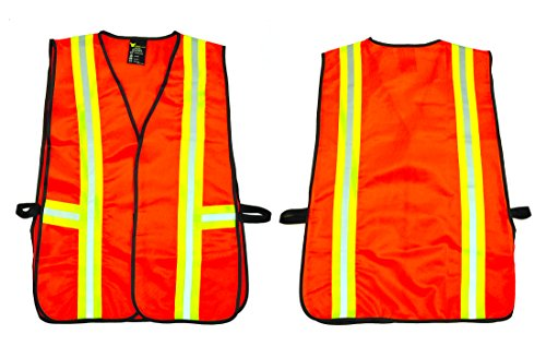 G & F 41113 Industrial Safety Vest with Reflective Stripes, Neon Orange
