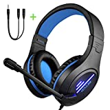 Xbox One PS4 Gaming Headset with Super Lightweight,COLUSI Over-Ear Gaming Headset with HD Mic&LED Light,Compatible with PC,Laptop,PS4,Xbox One Conntroller(Adapter Not Included),Ipad,Mobile Phone