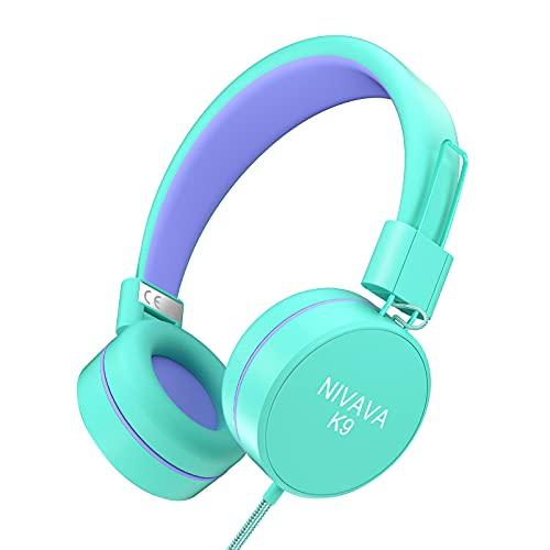 Nivava K9 Kids Headphones for Children Boys Girls Teens Wired 85dB Volume Limited Foldable Lightweight Stereo On Ear Headset for Cellphones Computer MP3/4 Kin Airplane School (Green&Purple)