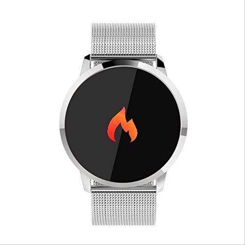YUJY Smartwatch Q8 Wasserdichter Farb-Touchscreen Smartwatch Smart Fashion Electronics Männer Frauen Herzfrequenz Fitness Armband Smartwatch Stahl Silber