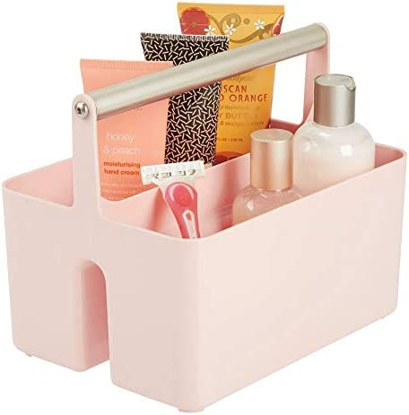 mDesign Plastic Portable Storage Organizer Utility Caddy Tote Divided Basket Bin Metal Handle product image