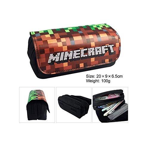 Federmäppchen für Junge - Mäppchen mit Fach Schlamperbox mit 2 Reißverschlüssen und Klettverschluss, Schulmäppchen für Schreibwaren - Mäppchen für Schule (04)
