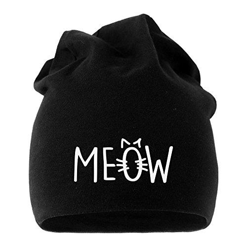 MoonWorks Jersey Beanie Katze Meow MIAU Cat Mütze Bedruckt Herren Damen schwarz Unisize