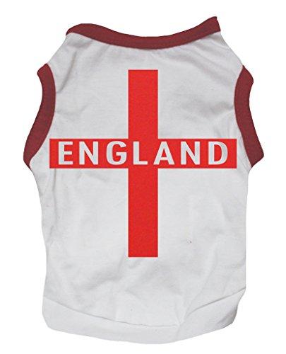 Petitebelle Hundeshirt, Motiv: England, rotes Kreuz auf Weiß, Baumwoll-Shirt