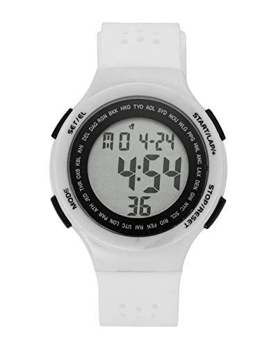 JSDDE Uhren Unisex Fitness Armbanduhr LCD Digital Uhrwerk Kalender Stoppuhr Wasserdicht Armbanduhr Silikon Band Sportuhr mit Gebrauchsanweisung (Weiß)
