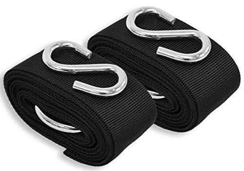Omnideal AMANKA kit Fixation hamac Arbre Kimba INCL 2 Sangles en Polyester résistants aux UV 3,2m Long 5cm Large et 2 Crochets S en Acier Poids supporté 250kg