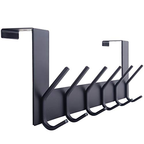 WEBI Over The Door Hook Door Hanger:Over The Door Towel Rack with 6 Coat Hooks for Hanging,Door Coat Hanger Towel Hanger Over Door Coat Rack for Towels,Clothes,Back of Bathroom,Black