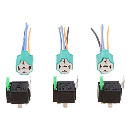 Sharplace 3pcs Titular de Relés con Fusibles Conector Interruptor 4 Pin 12A de Vehículos