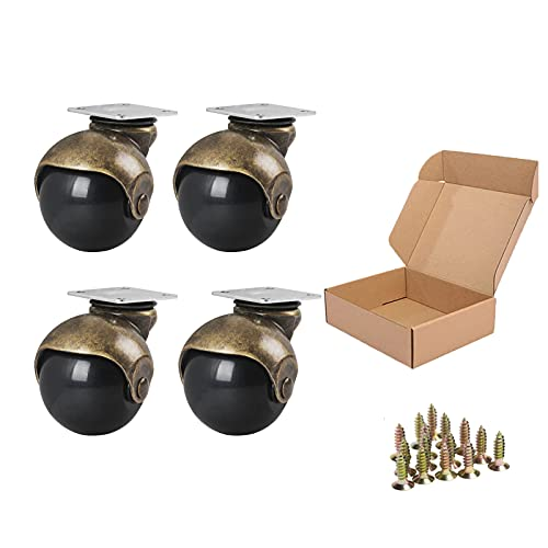 ENYKE Ball Caster Wheels, 1.5-inch Small Wheels for Furniture, Swivel Casters Set of 4, Antique Brass Top Plate Casters for Furniture, Ottoman, Wheelchair, Coffee Table (Screws Included)