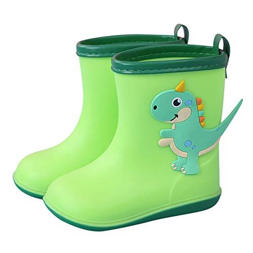 Bumplebee Kinder Regenstiefel Dinosaurier, Wasserdicht Gummistiefel Mädchen, Leicht Cartoon Regenschuhe Jungen, Kinderschuhe mit rutschfeste Sohle, Basic Kinderstiefel (Grün, 20)