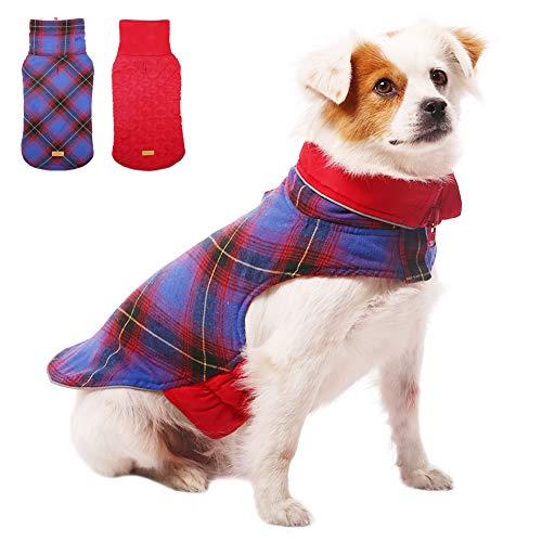 Kuoser Forro polar grueso al aire libre del perro del abrigo del invierno del perro del chaleco del perro caliente ropa para el clima frío chaqueta del perro para perros pequeños medianos grandes