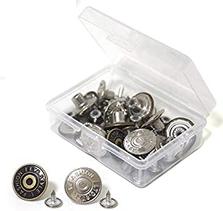 20 Sets Replacement Jean Buttons 17mm Combo Copper Tack Buttons Replacement Kit with Rivets and Metal Base in Plastic Stor...